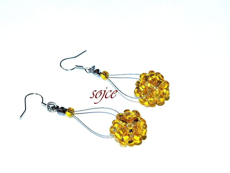 Náušnice 1428 Šité žluté kuličky
