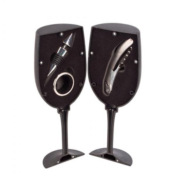 Luxusní set na víno Sklenice, vývrtka, nálevka a kroužek