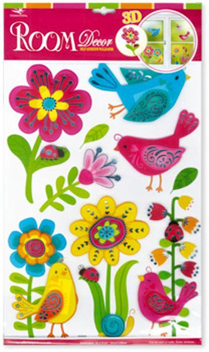 Samolepící dekorace na zeď Květiny a ptáčci