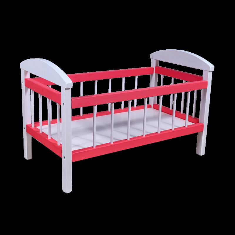 Dřevěná postýlka pro panenky, Barevná