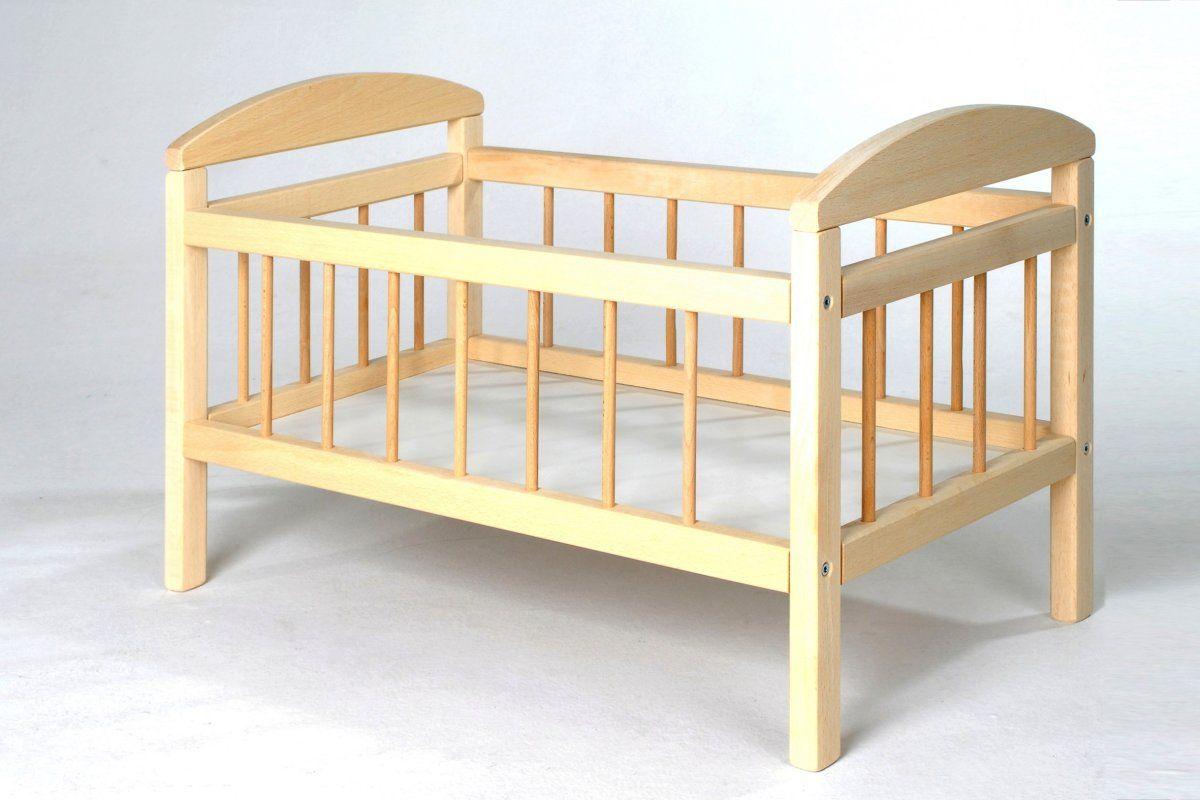 Dřevěná postýlka pro panenky, Přírodní