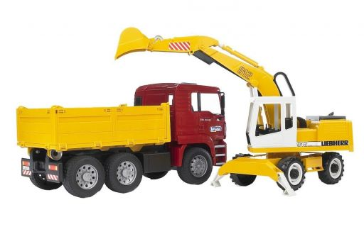 Bruder 2751 MAN TGA nákladní auto s bagrem Liebherr