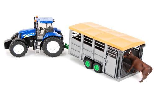 Bruder 1695 Traktor New Holland T8040 s přívěsem na krávy