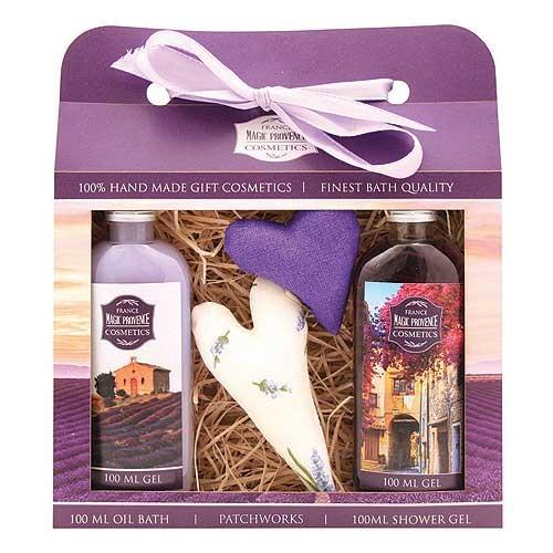 Kosmetika levandule dárkové balení, Sprchový gel, lázeň a patchwork