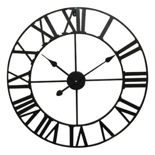 Nástěnné retro analogové hodiny, černé, průměr 60 cm