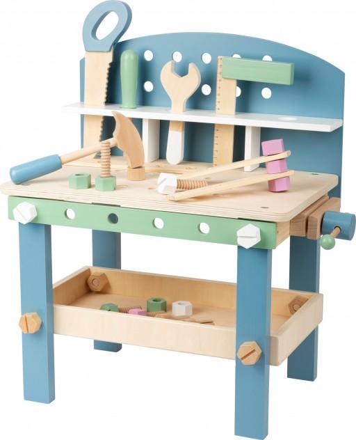Small Foot dřevěný pracovní stůl modrý, 49cm