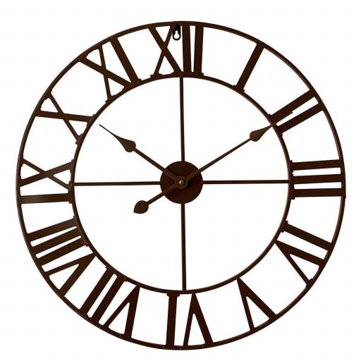 Nástěnné retro analogové hodiny, hnědé, průměr 60 cm