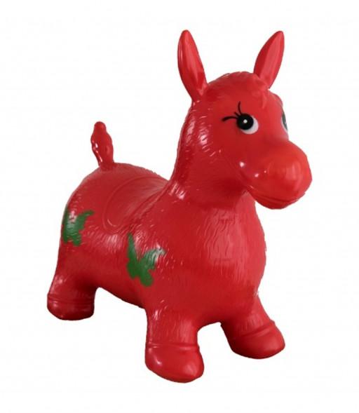 Dětské hopsadlo červený gumový skákací koník, 49x43x28cm