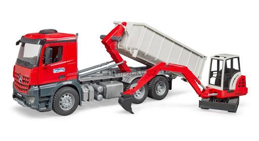 Bruder 3624 Mercedes Benz Arocs Truck s kontejnerem a bagrem