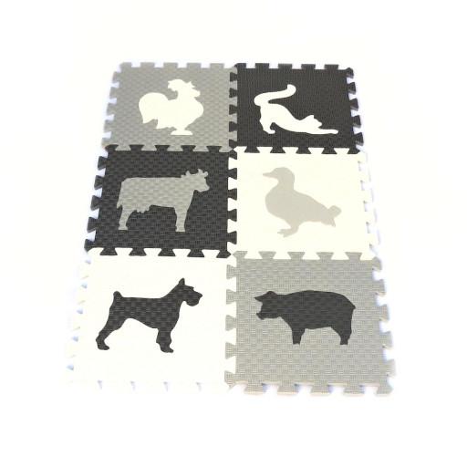 Pěnový koberec MAXI EVA Zvířata III., bílo-černo-šedý