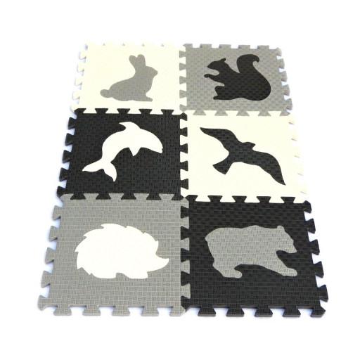 Pěnový koberec MAXI EVA Zvířata IV., bílo-černo-šedý