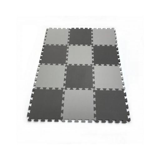 Pěnový koberec MAXI EVA 12, černo-šedý