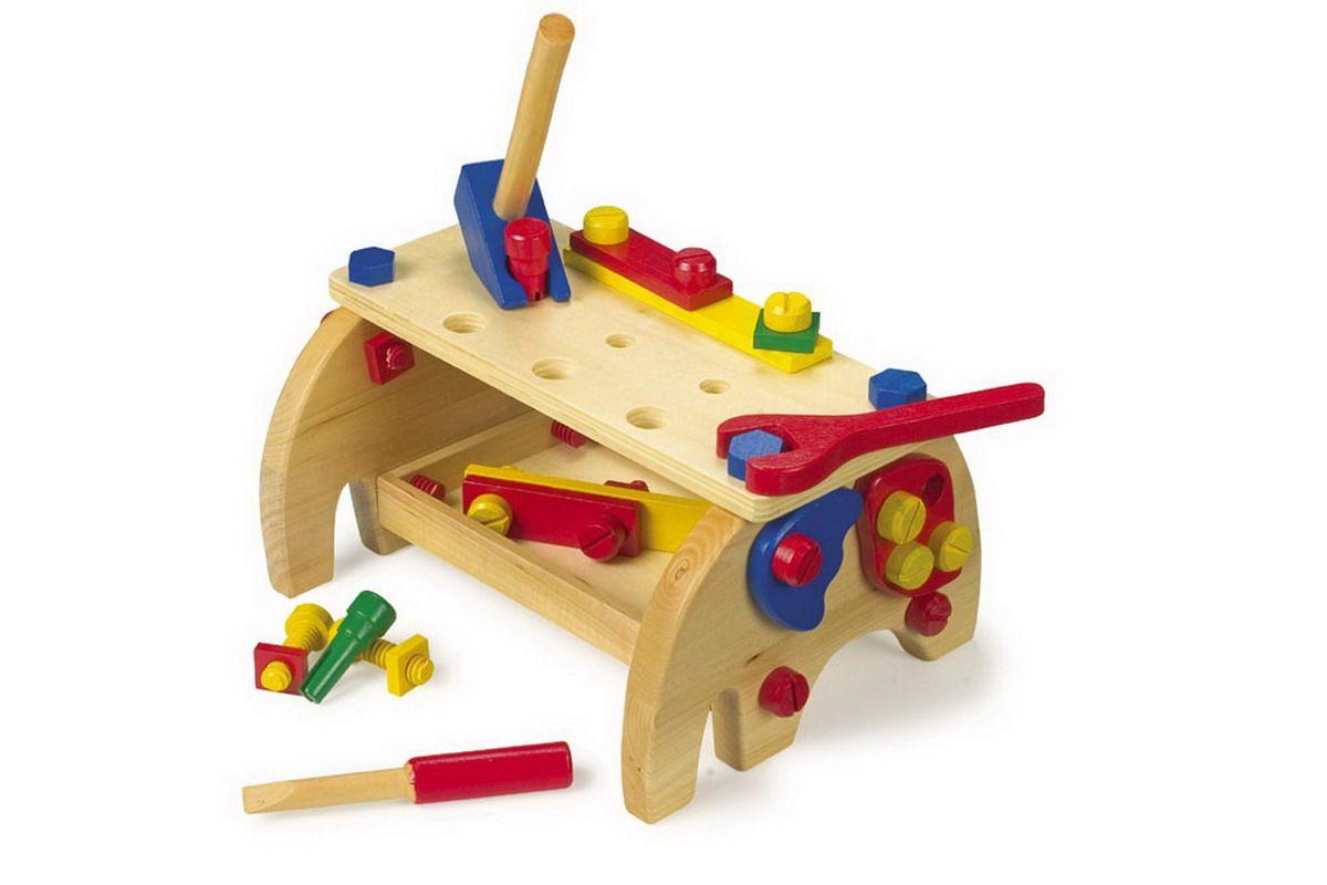 Small Foot dětský dřevěný pracovní stůl s nářadím 30 x 20 cm