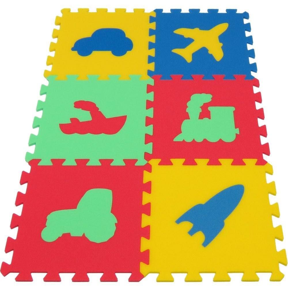 Malý Genisu Pěnový koberec MAXI 6 Dopravní prostředky, mix 4 barev